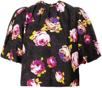 MSGM floral puffed sleeve blouse