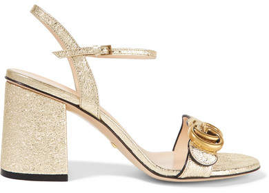 Gucci - Marmont Embellished Cracked-leather Sandals - Gold