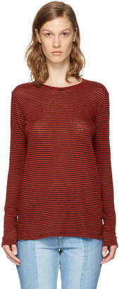 Etoile Isabel Marant Red Long Sleeve Striped Aaron T-Shirt