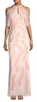 Aidan Mattox Embellished Cold-Shoulder Cape Gown