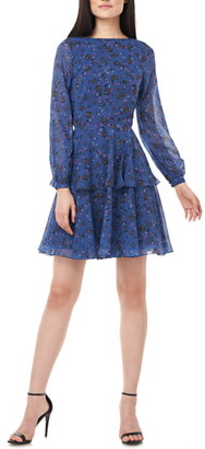 Theia Love by Floral Print Long Sleeve Chiffon Cocktail Dress