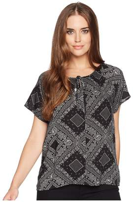 True Grit Dylan by Modern American Short Sleeve Bandana Peasant Blouse Women's Short Sleeve Button Up