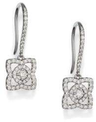De Beers Enchanted Lotus Diamond& 18K White Gold Drop Earrings
