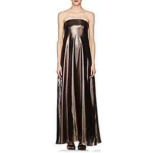 Alberta Ferretti Women's Silk-Blend Lamé Gown - Bronze