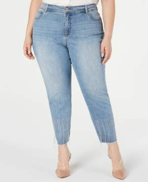 INC International Concepts I.n.c. Plus Size Tummy-Control Embellished Jeans, Created for Macy's