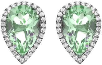 5th & Main Platinum-Plated Sterling Silver Teardrop-Cut Green Obsidian Pave CZ Earrings