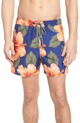 French Connection Wela Hawaiian Slim Fit Swim Trunks