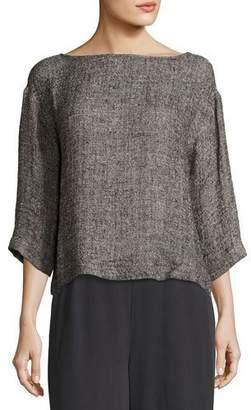 Eileen Fisher 3/4-Sleeve Gauzy Linen-Blend Box Top $198 thestylecure.com
