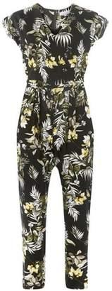 Dorothy Perkins Womens Petite Black Safari Floral Print Jumpsuit