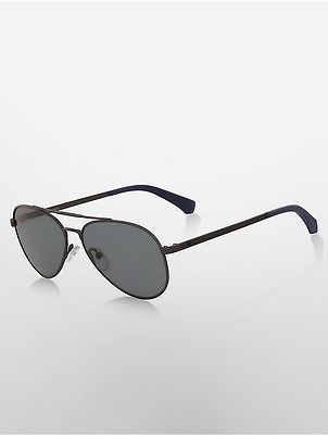 Calvin Klein Calvin Klein Womens Double-Bar Aviator Sunglasses Matte Gunmetal