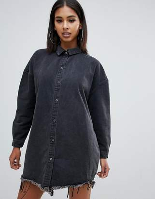 Missguided oversized denim boyfriend shirt dress in washed black
