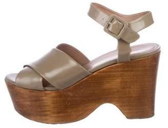 Celine Céline Leather Ankle Strap Sandals Olive Céline Leather Ankle Strap Sandals