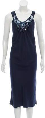 Magaschoni Silk Embellished Midi Dress w/ Tags
