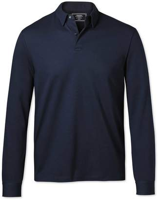 Charles Tyrwhitt Plain Navy Long Sleeve Jersey Cotton Polo Size Medium
