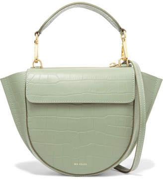 Hortensia Wandler Mini Croc-effect Leather Shoulder Bag - Sage green