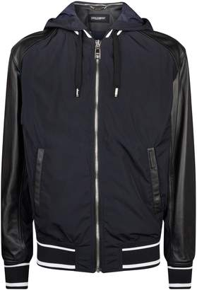 Dolce & Gabbana Leather Sleeves Hooded Bomber Jacket