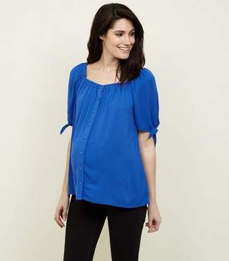 New Look Maternity Blue Square Neck Button Front Top