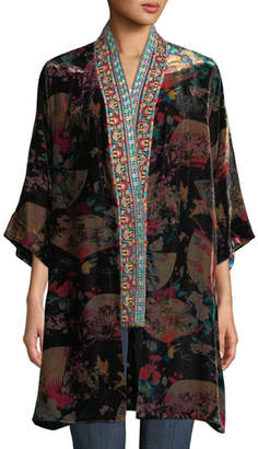 Johnny Was Plus Size Fusai Reversible Printed Kimono w/ Embroidered Trim