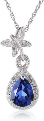 Sterling Created-Blue-Sapphire and Diamond Dragonfly Pendant Necklace (0.06 cttw