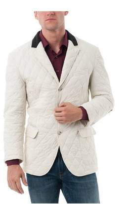 Verno Big Men's White Quilted Notched Lapel Sports Coat