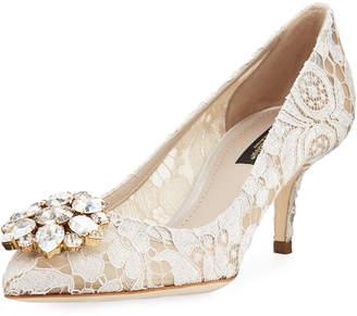 Dolce & Gabbana Bellucci Jewel-Embellished Lace Pumps