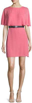 Halston Short-Sleeve Belted Caftan Dress, Strawberry