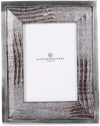 At Amara Alexander James Metallic Lizard Silver Photo Frame With Chrome 5x7