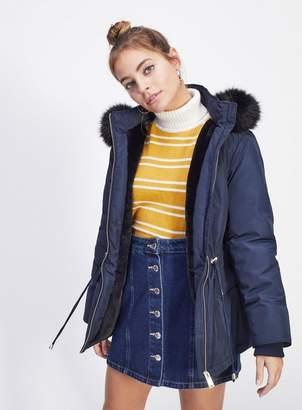 Miss Selfridge Petite navy parka coat