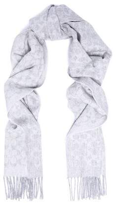 Coach Fringed Jacquard-Knit Wool And Cashmere-Blend Scarf