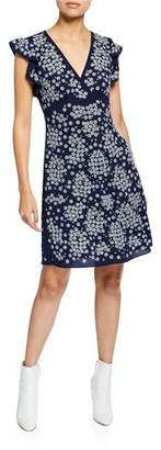 MICHAEL Michael Kors V-Neck Cap-Sleeve Floral-Embroidered A-Line Dress