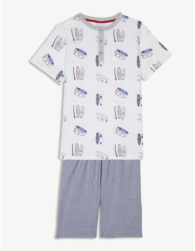 The Little White Company Surfboard print cotton pyjamas 7-12 years