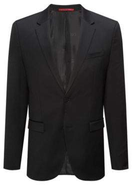 HUGO Boss Extra-slim-fit jacket in yarn-dyed virgin wool 44L Black