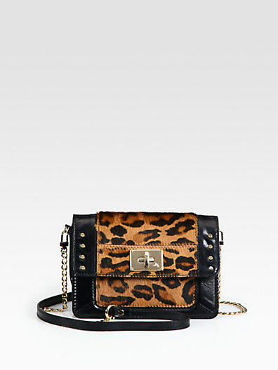 Milly Harper Leopard-Print Calf Hair & Leather Mini bag