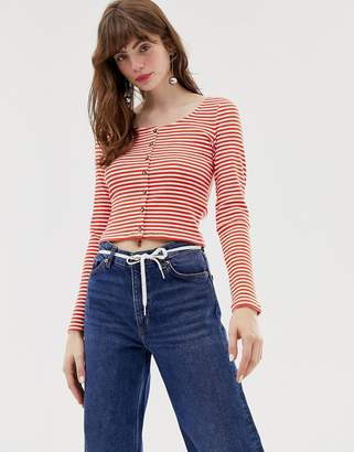 Monki ribbed stripe top in red