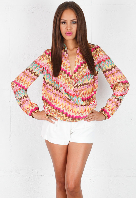 Haute Hippie Long Sleeve Faux Wrap Blouse -