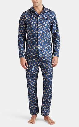 Maison Marcy Men's Magritte Micro-Basket-Weave Cotton Slim Pajama Set - Navy
