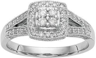 MODERN BRIDE Womens 1/2 CT. T.W. Genuine White Diamond 14K White Gold Cluster Engagement Ring