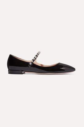 Miu Miu Crystal-embellished Patent-leather Mary Jane Ballet Flats - Black