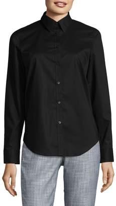 Chaps Petite No-Iron Cotton Broadcloth Button-Down Shirt