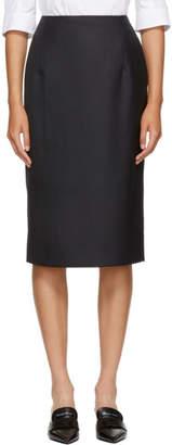 Thom Browne Navy Wool Striped Straight Skirt
