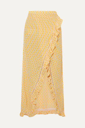Paloma Blue - Stevie Ruffled Printed Crepe De Chine Wrap Maxi Skirt - Yellow