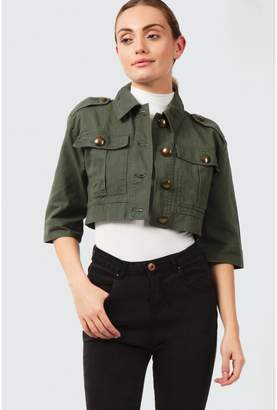 Select Fashion Fashion Womens Green Cropped Utility Jacket - size 14