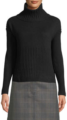 Derek Lam 10 Crosby Long-Sleeve Cashmere Turtleneck Sweater w/ Rib Detail