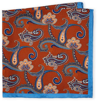 Piattelli Bruno Rust Paisley Silk Pocket Square