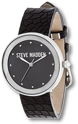 Steve Madden (スティーブ マデン) - Steve Madden合金キュービックジルコニアブラックダイヤルブラック動物印刷レザーストラップウォッチ
