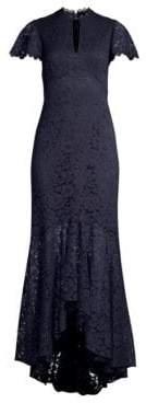 Shoshanna Women's Aimi Keyhole Lace Gown - Navy Jet - Size 0