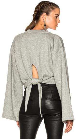 T by Alexander Wang Tie Back Long Sleeve Crop Sweatshirt in Gray.