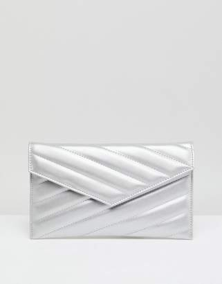 Asos Quilted Clutch Bag In Water Based Pu