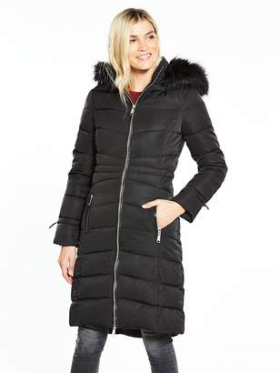 Very Long Padded Coat With Faux Fur Hood - Black