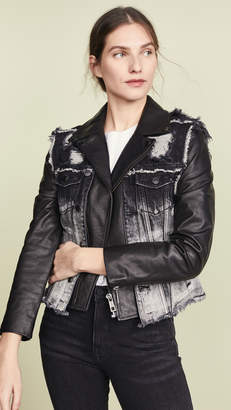 Jocelyn Denim Vest Leather Lab Jacket